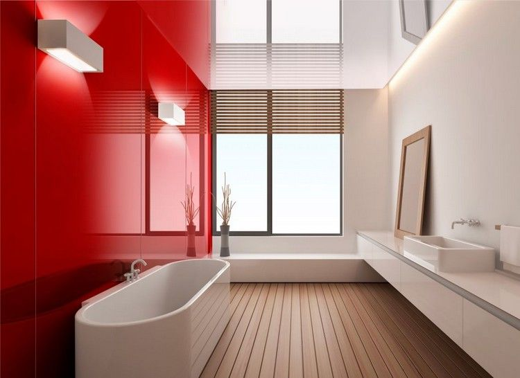 badezimmer ohne fliesen glas wandpaneele rot holzboden. Black Bedroom Furniture Sets. Home Design Ideas