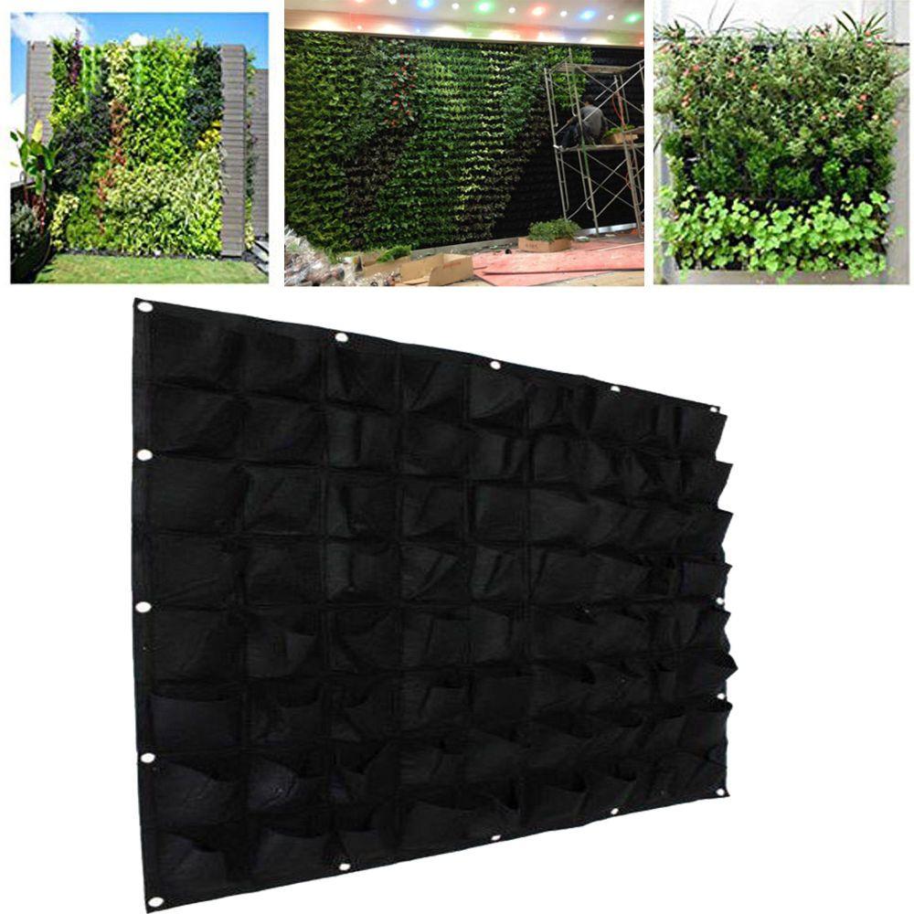 72 Pockets Outdoor Vertical Greening Hanging Wall Garden Plant Bags Wall Planter Ebay Vertical Garden Wall Planter Garden Wall Planter Boxes Planter Bags