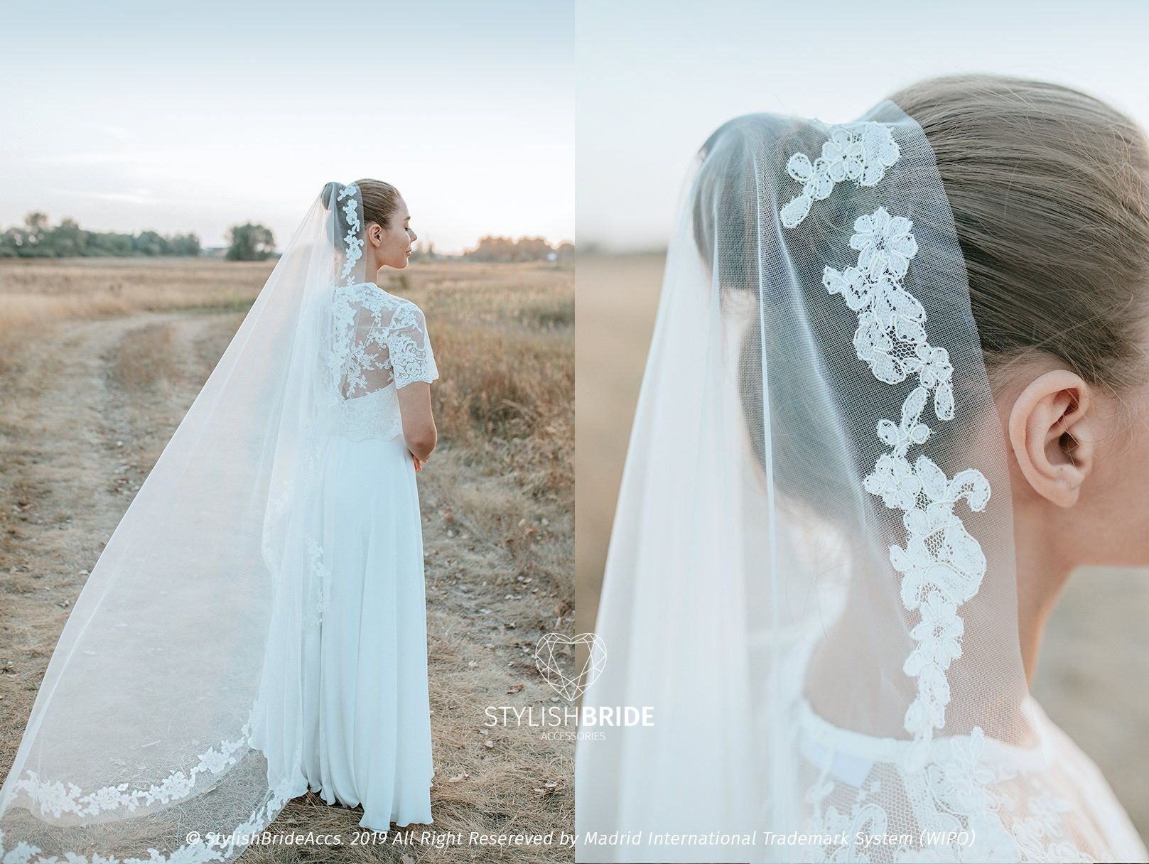 Floor length Belle Wedding Veil with Full Circle Lace