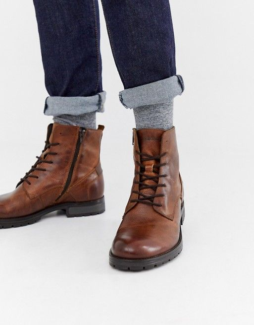 Jack \u0026 Jones leather lace up boots