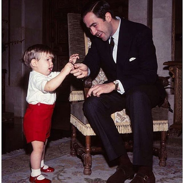 At the Zarzuela Royal Palace where his sister is Queen, His Majesty King Constantine II of The ...