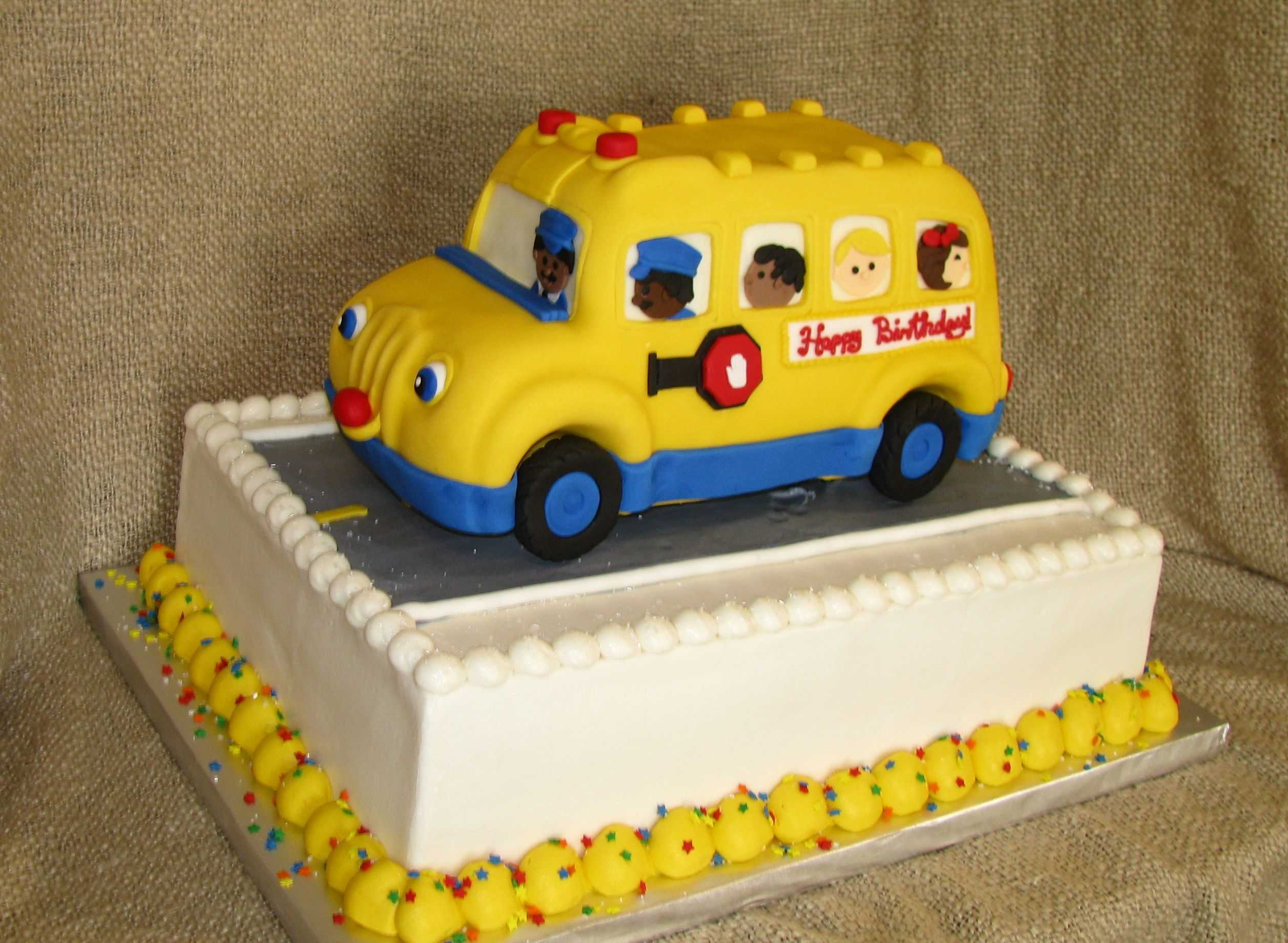Wondrous School Bus Birthday Cake With Images School Bus Cake Novelty Personalised Birthday Cards Cominlily Jamesorg