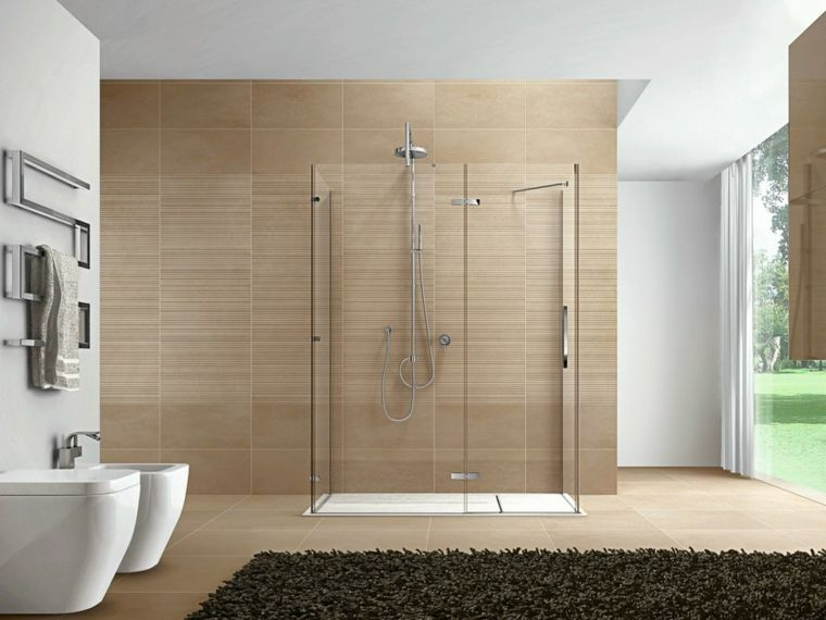 Idee rivestimento bagno box doccia in vetro piastrelle - Piastrelle bagno legno ...