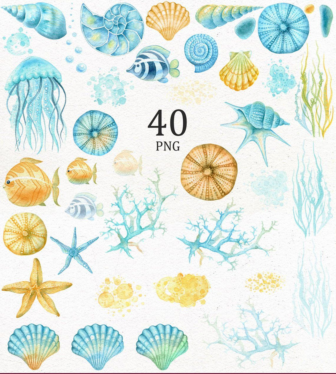 Watercolor Ocean Creatures Clipart Blue And Yellow Sea Life Clip