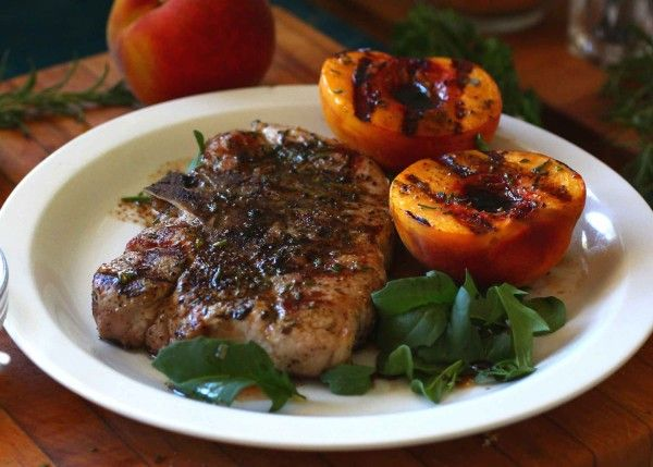 Grilled Rosemary Pork Chops and Peaches with Balsamic and Lime : PrimalPaleo.com