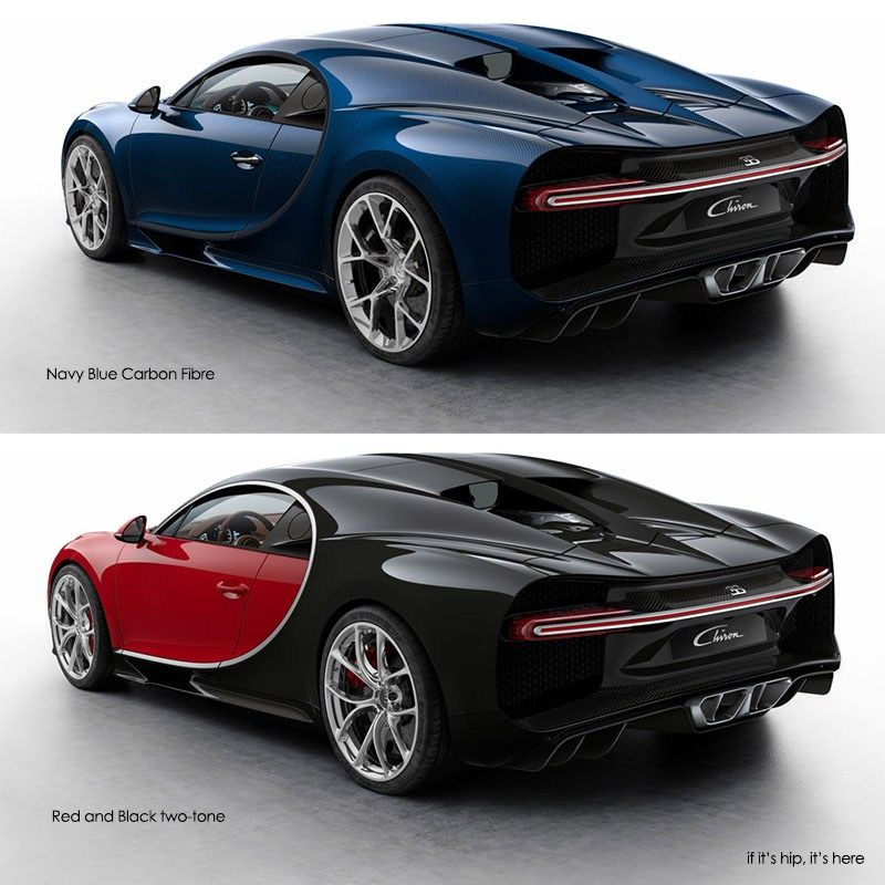 Custom Bugatti Veyron Super Rear View: Bugatti Chiron Navy Blue And Red And Black Rear 3 Quarters