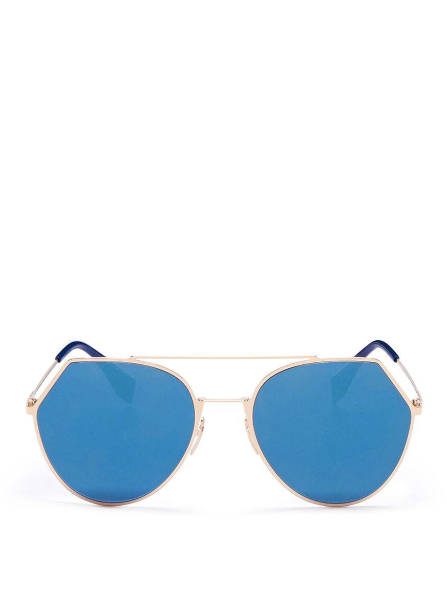 54e2d5bec92 FENDI  Eyeline  flat lens metal sunglasses.  fendi  sunglasses ...