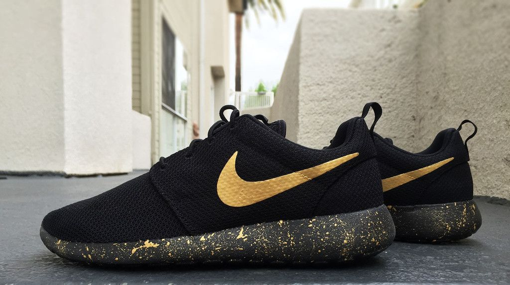 Womens And Mens Custom Nike Roshe Black And Gold Black Gold
