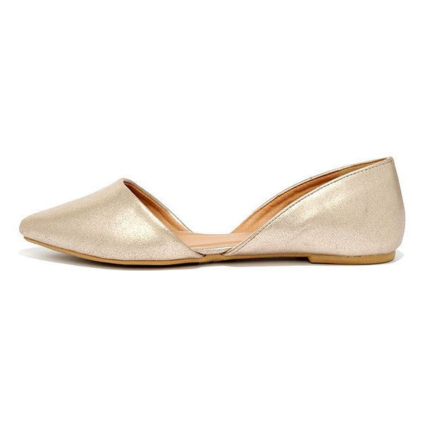 Gold shoes flats