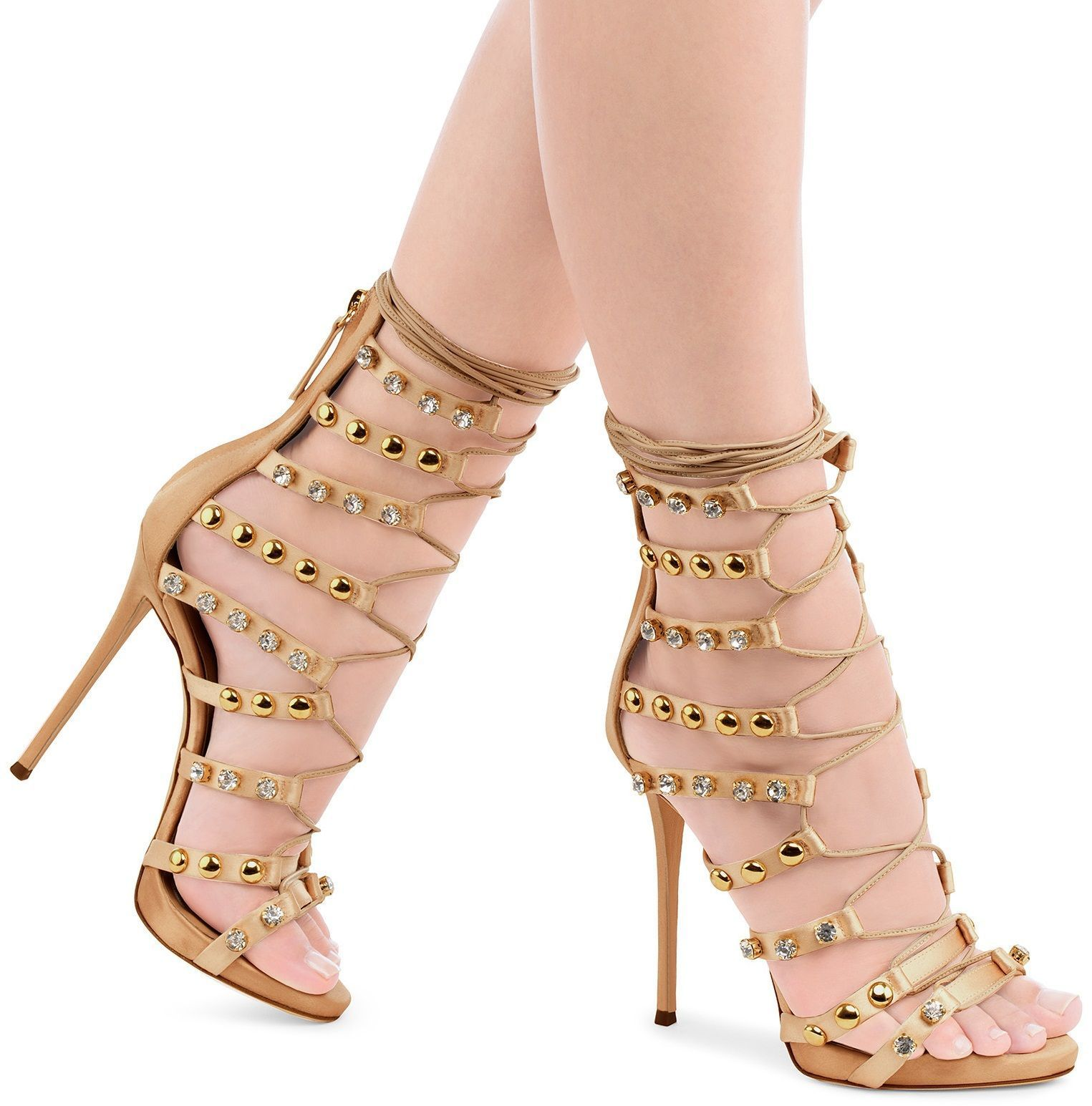 75804544cd1 Giuseppe Zanotti Kara Pink Satin Sandal With Crystals And Studs ...
