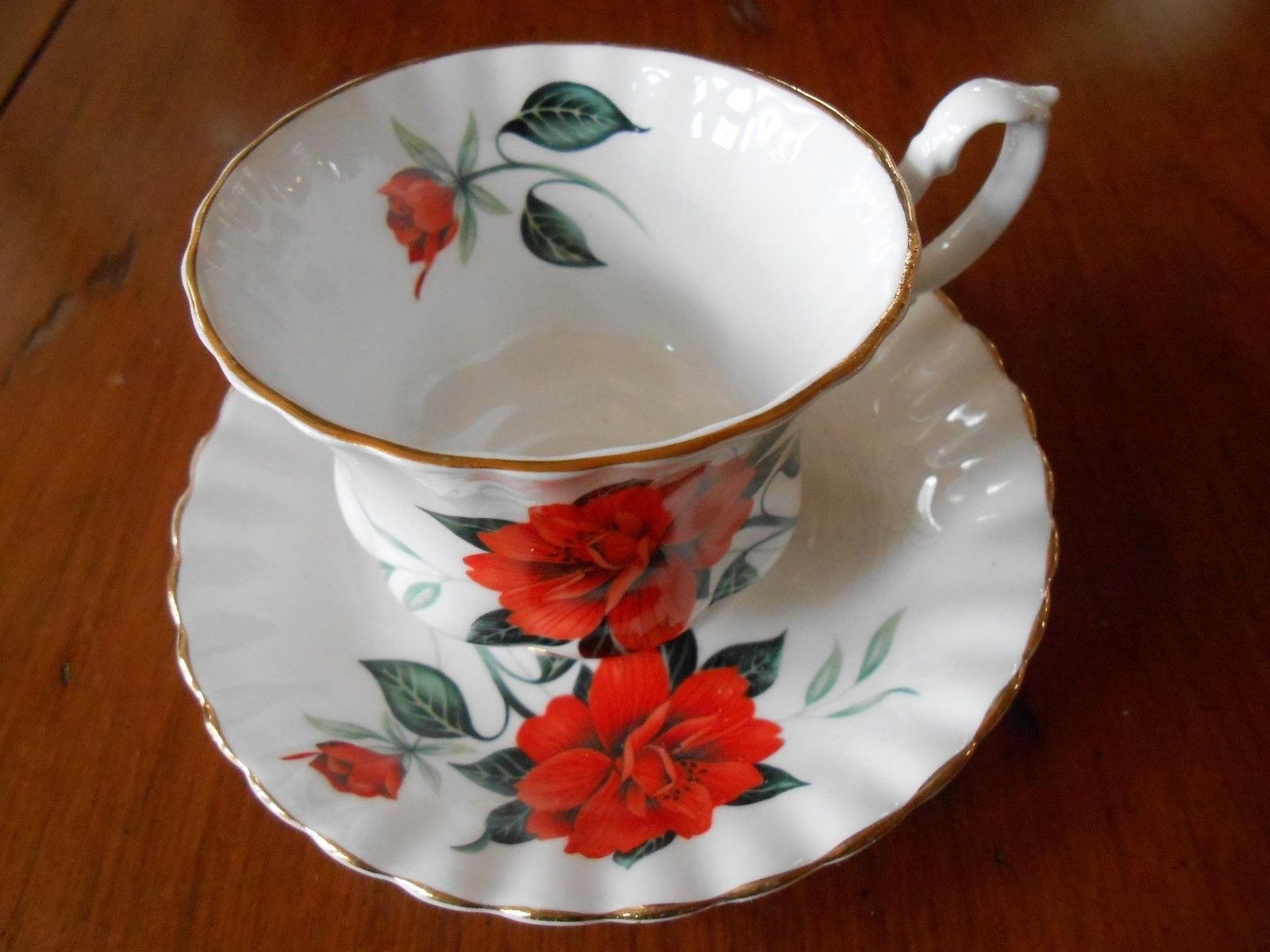 Royal albert bone china tea cup amp saucer winsome pattern ebay - Details About Vintage Royal Albert Orange Camellias Montrose Style Bone China Cup And Saucer