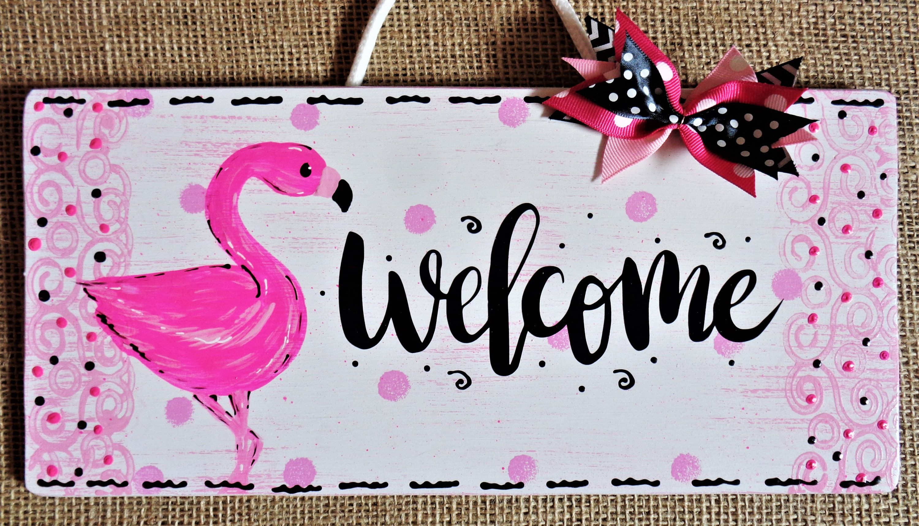 Welcome Pink Flamingo Sign Tropical Deck Patio Hot Tub