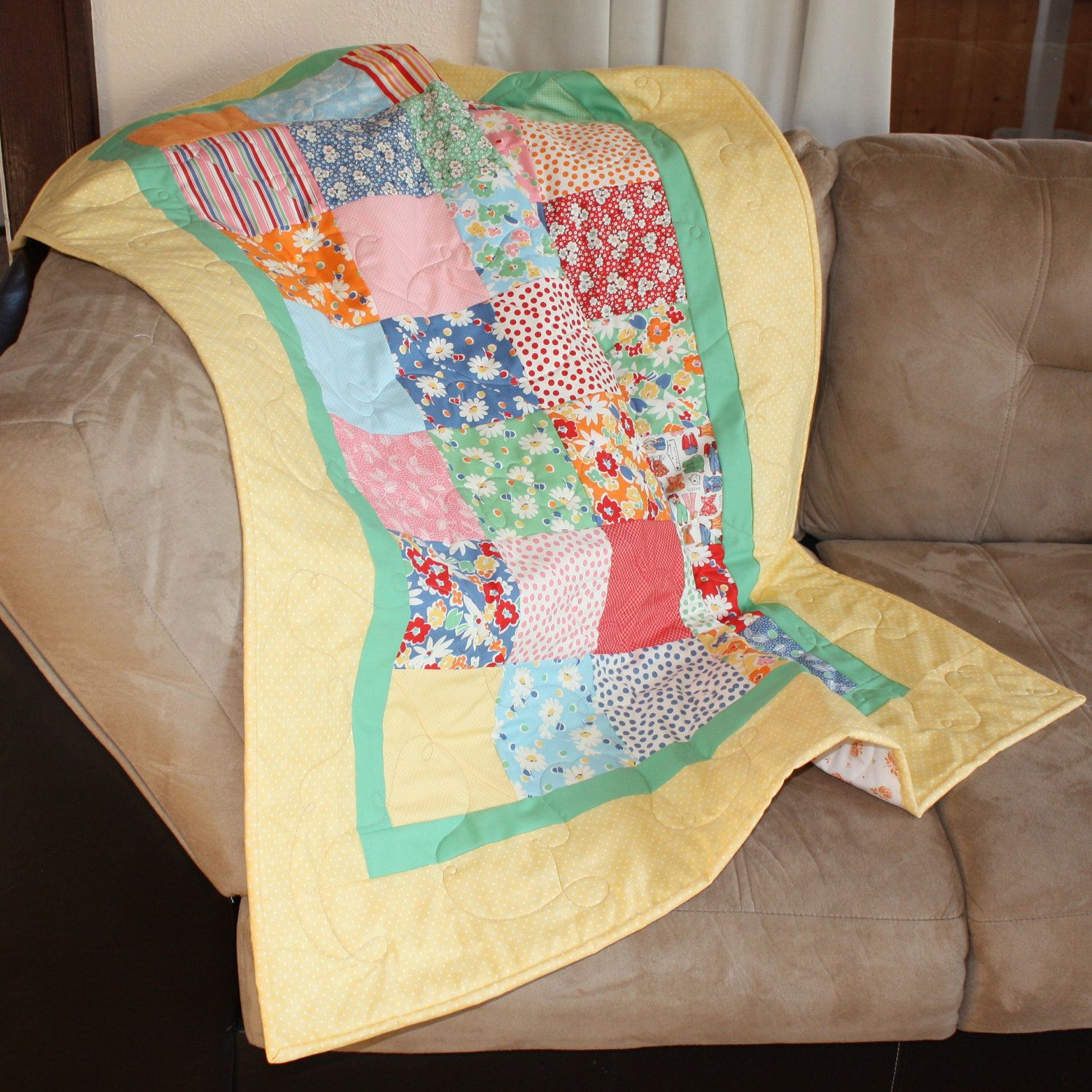Snippets Baby Quilt for a Girl or Boy.
