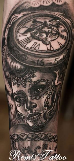 b7200884c Day of the Dead tattoo - Black and gray YES PLEASE, hmm and the clock will  be set to a very special time a very special little boy was born?!