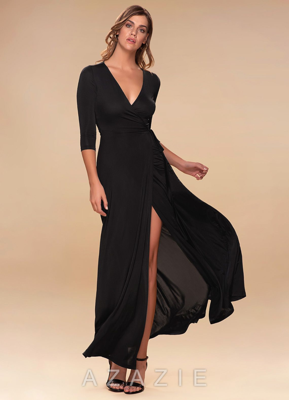 Sway Black Wrap Maxi Dress Azazie Dresses Silver Maxi Dress Floral Print Maxi Dress [ 1384 x 1000 Pixel ]