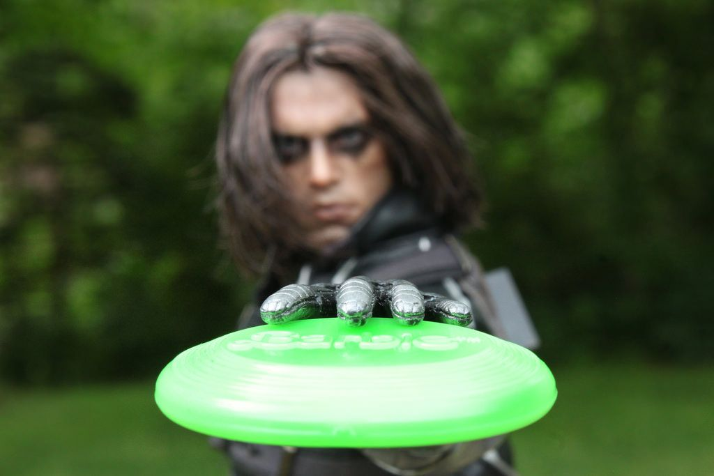 Bucky's always so melodramatic, even when playing Frisbee.