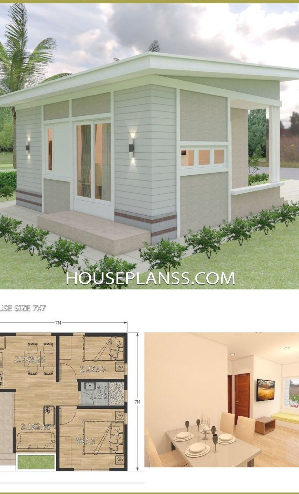 Small House Design Plans 7x7 With 2 Bedrooms House Plans Sam Small House Design Plans Small House Design House Design Pictures