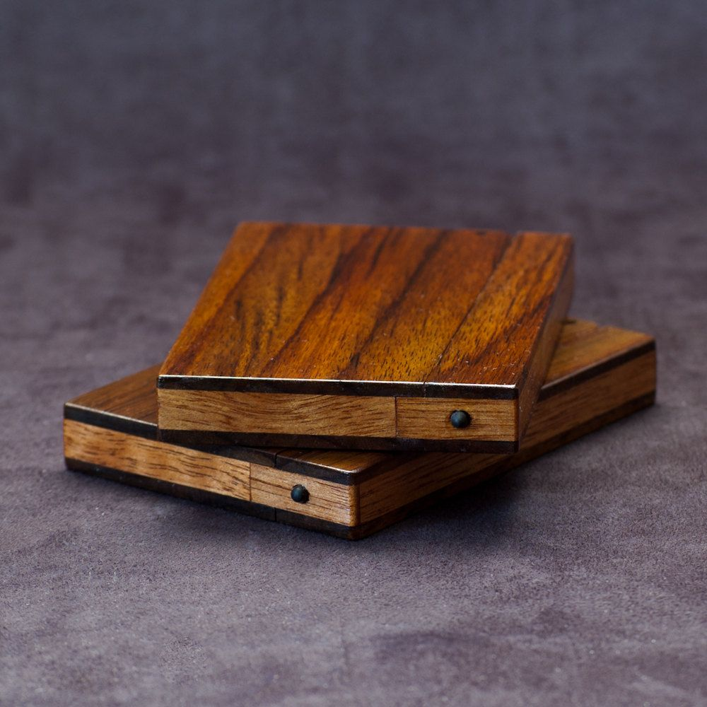 Wood Business Card Holder And Credit Case East Indian Rosewood Teak 65 00