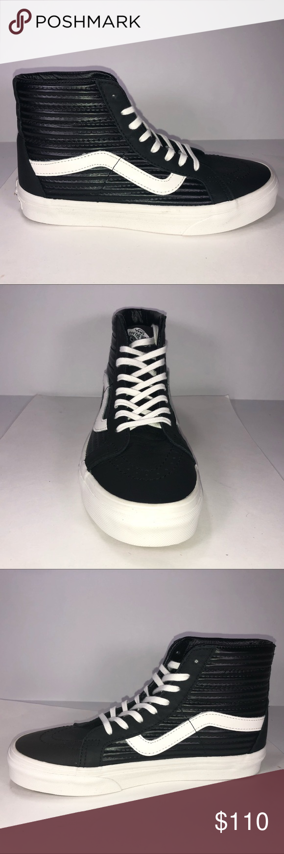 9704ec80df40 I just added this listing on Poshmark: Vans Sk8 Hi Moto Leather Black &  White Sneakers. #shopmycloset #poshmark #fashion #shopping #style #forsale # Vans # ...