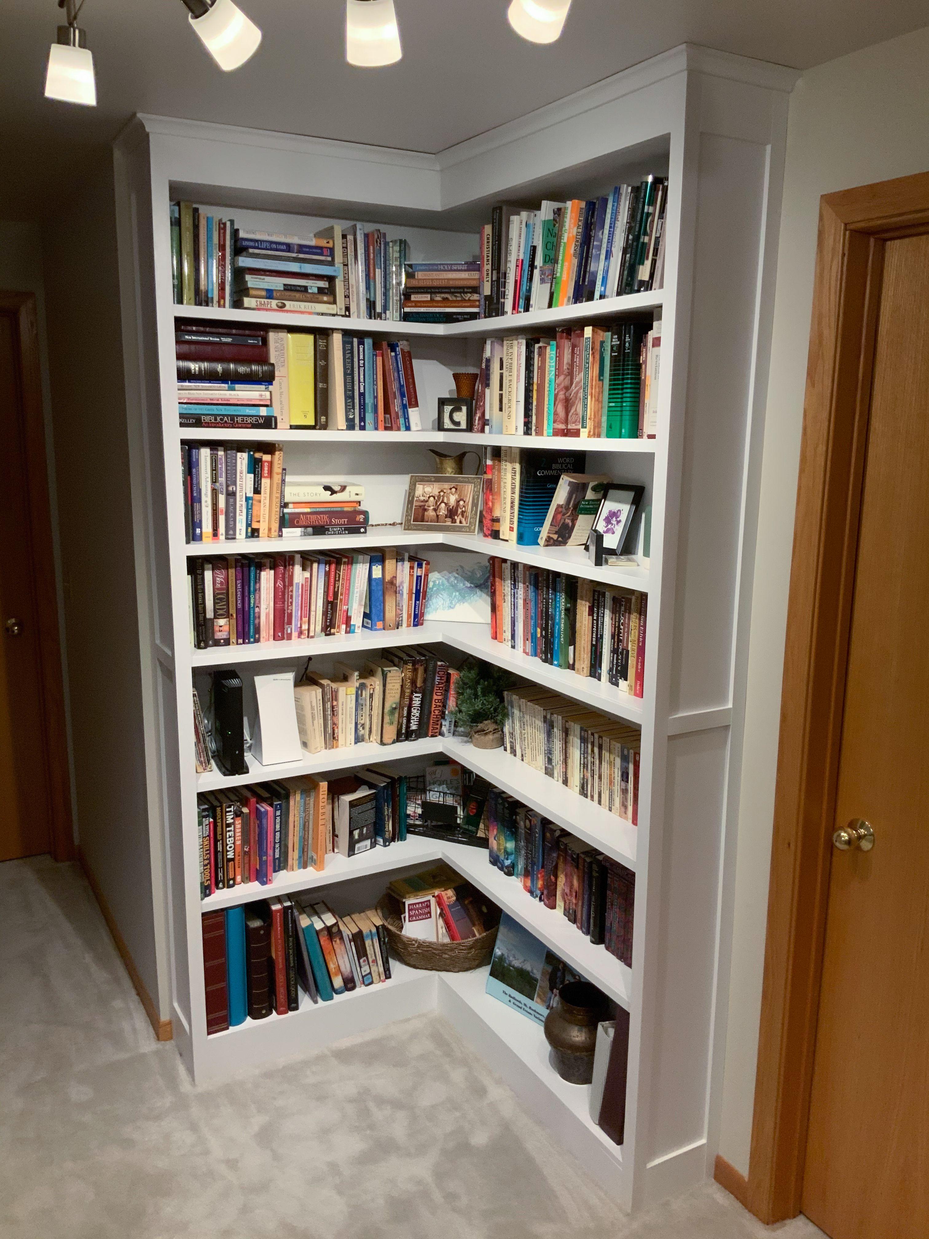 Builtin corner bookshelf with open corner diy in 2020