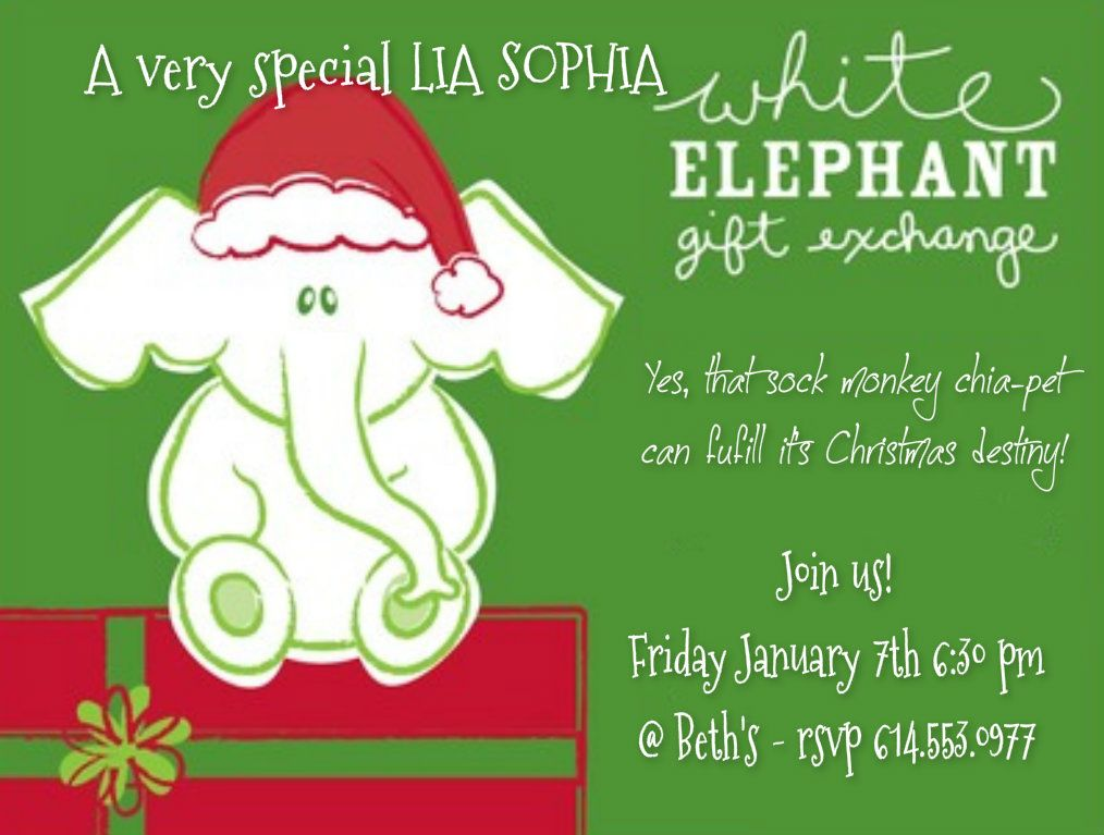 White Elephant Lia Party Idea For January After A Crazy December Give Your Peep White Elephant Gifts Exchange White Elephant Invitations White Elephant Gifts