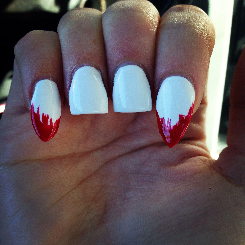Vampire teeth acrylic nails, omg I love them!!!!! @Gracie Villescas ...