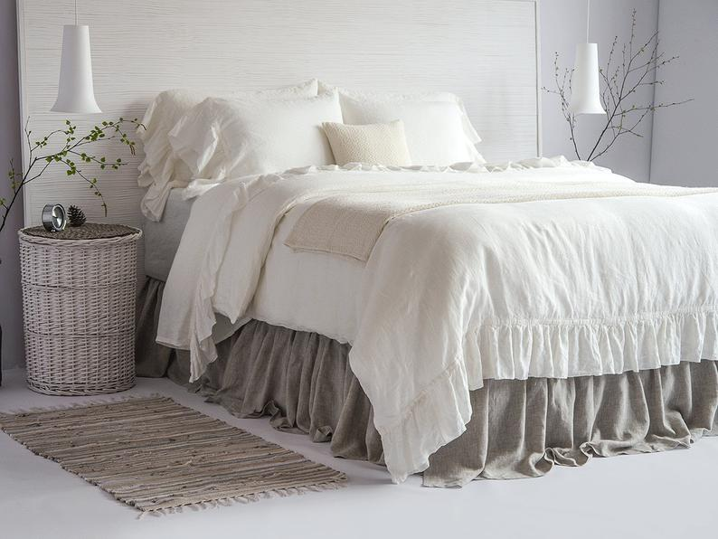 Linen Dust Ruffle Bed Skirt Stone Washed Super Soft Queen