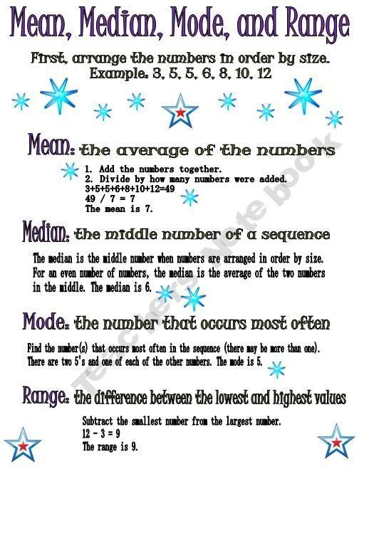 Perfect mean median mode range information