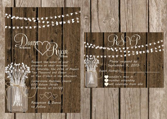 rustic wedding invitation, light strand wedding invitation, wood, Wedding invitations