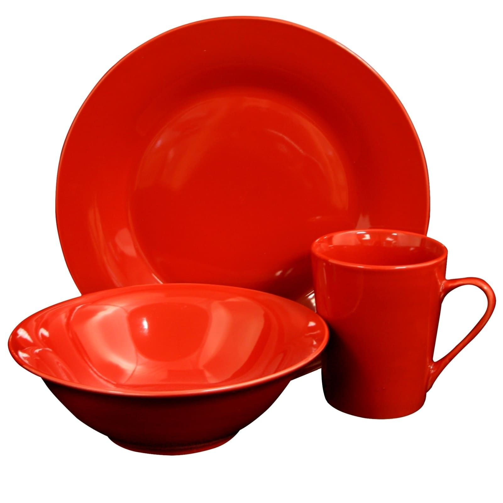 Gibson Home Carlton 12-Piece Dinnerware Set in Red (Ceramic, Solid ...