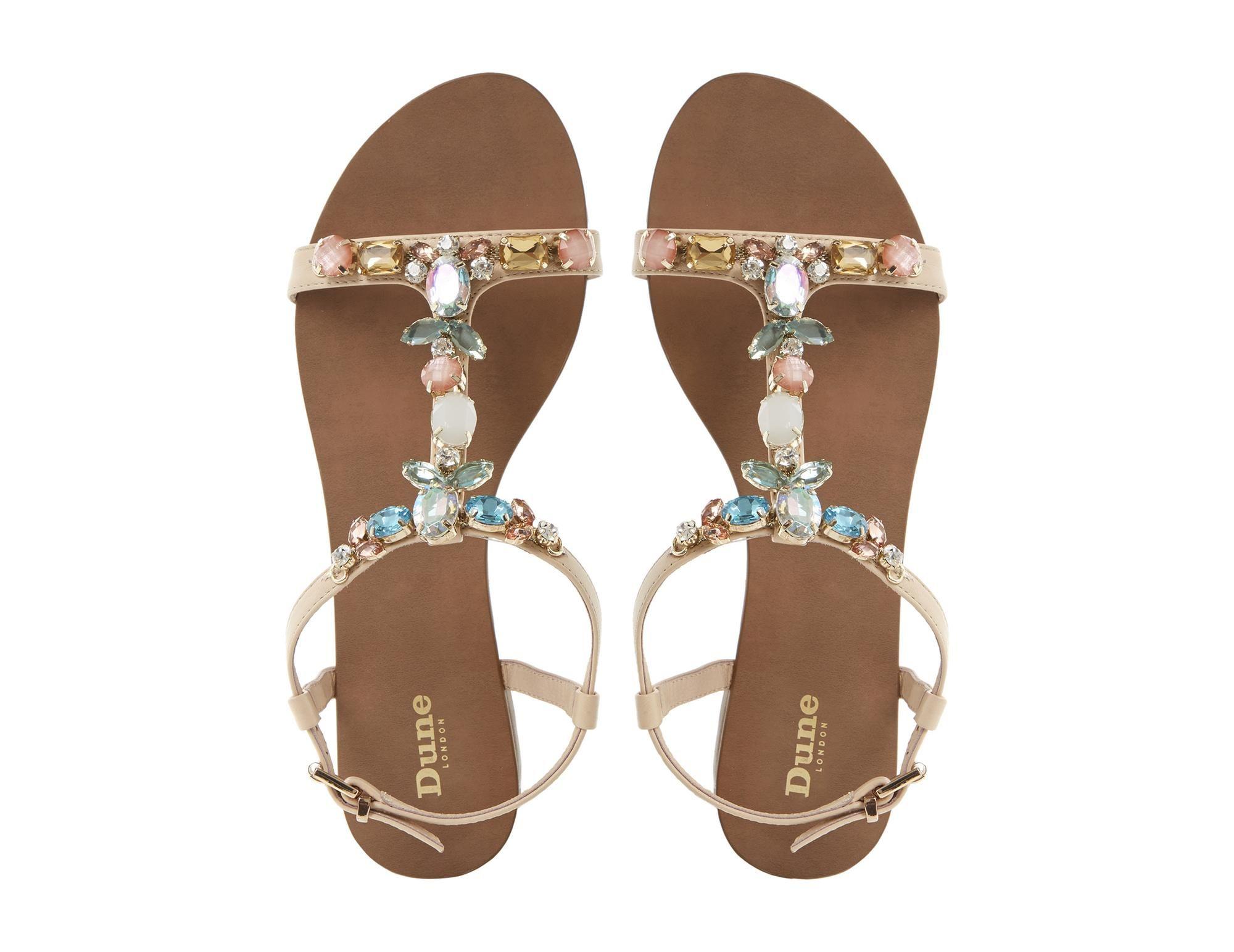2ac99c42ddce3b DUNE LADIES KHLOE - Jewel Embellished T-Bar Flat Sandal
