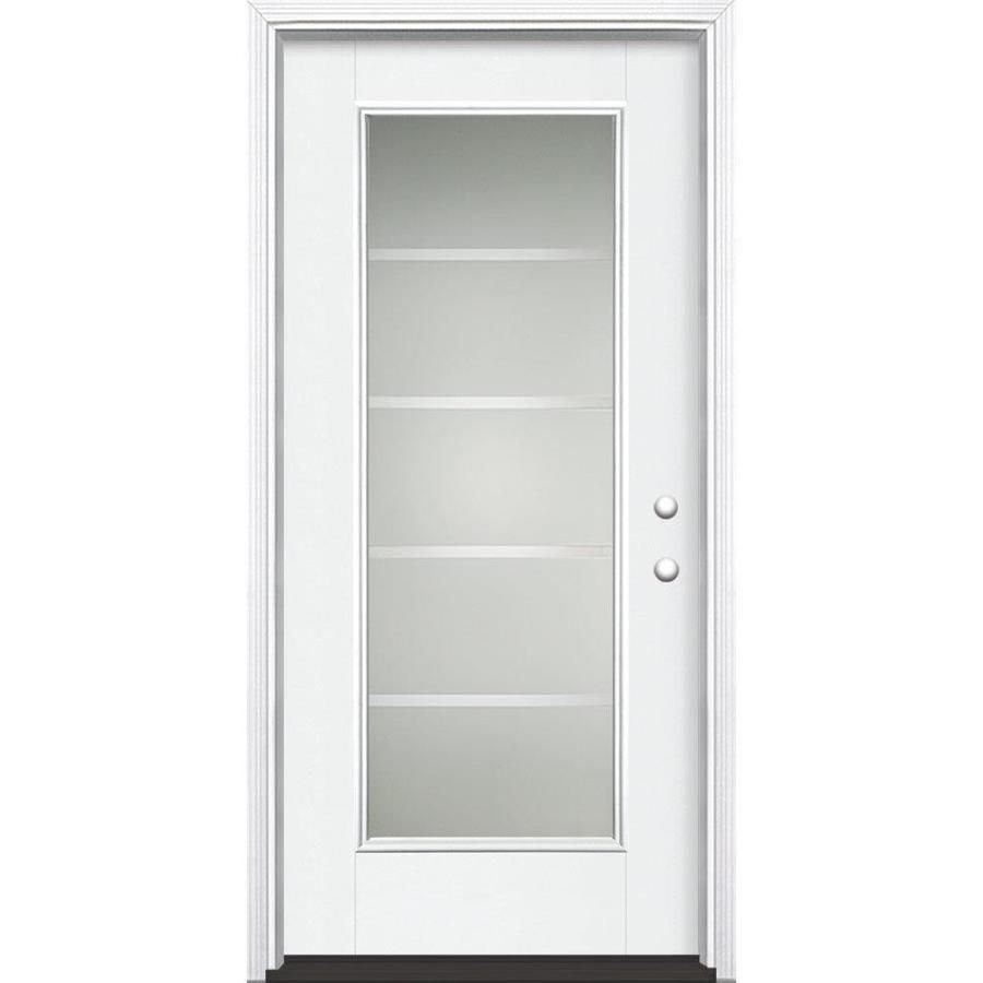 Masonite Crosslines Full Lite Decorative Glass Left Hand Inswing Arctic White Painted Fiberglass Prehung Entry Door In 2020 Entry Doors Rustic Entry Doors Glass Decor