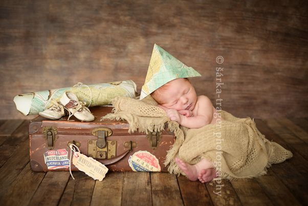 Newborn boy sleeping next to vintage suitcase photographed by san francisco newborn photographer sarka trager photography