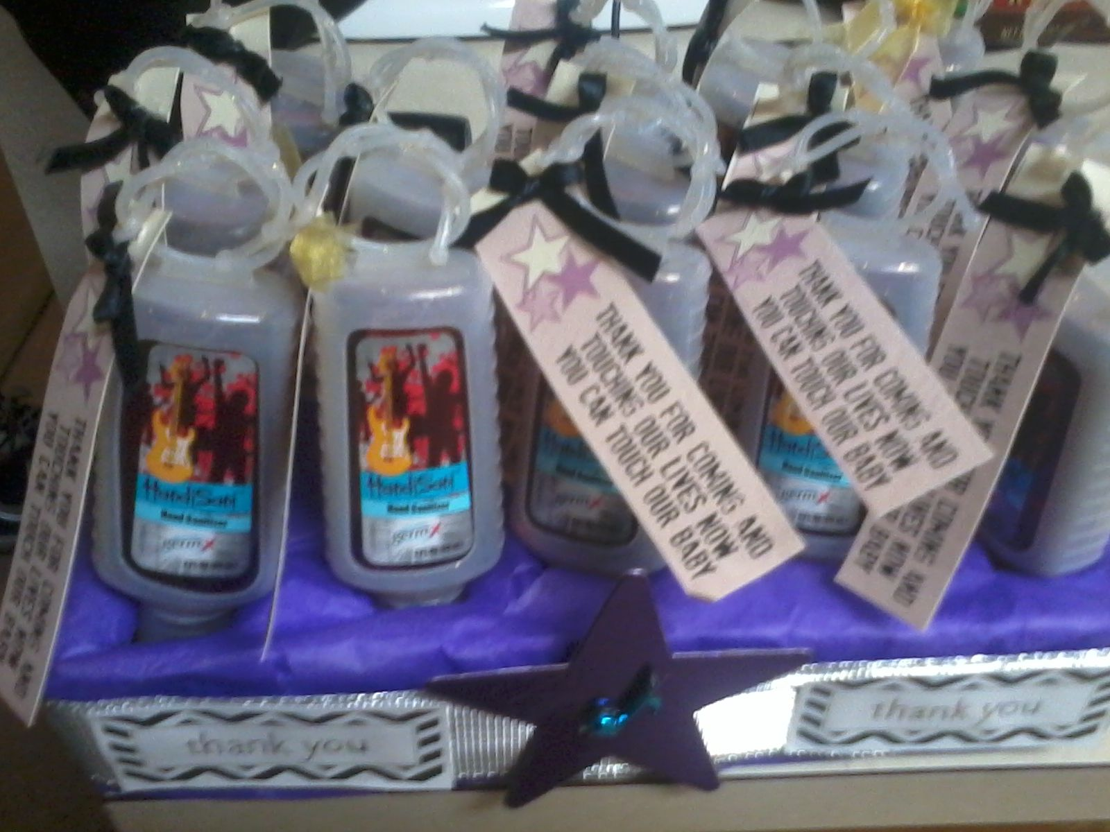 Rock Star Baby Shower Favors Germ X Hand Sanitizer Tag Says