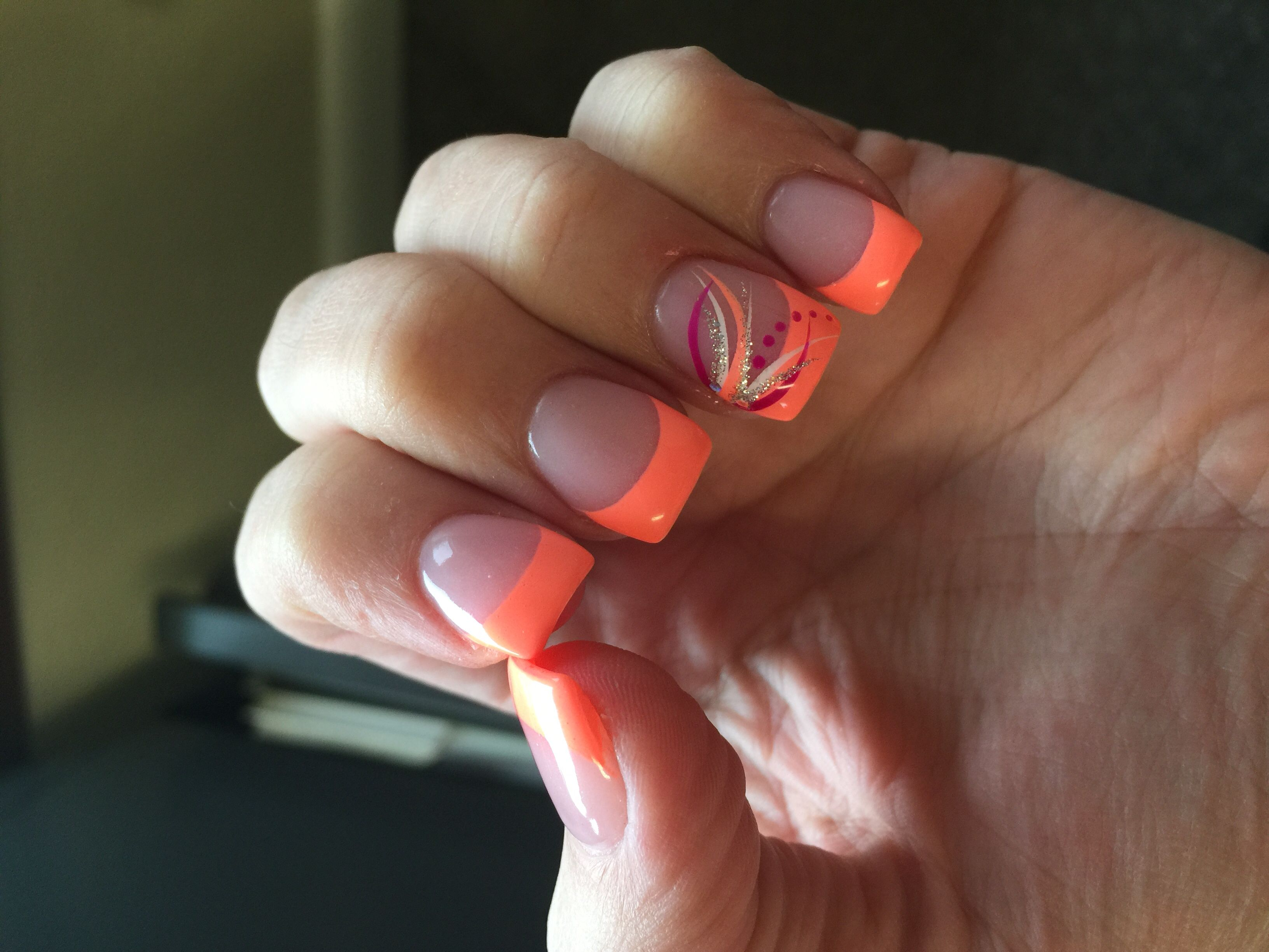 coral french tips nails