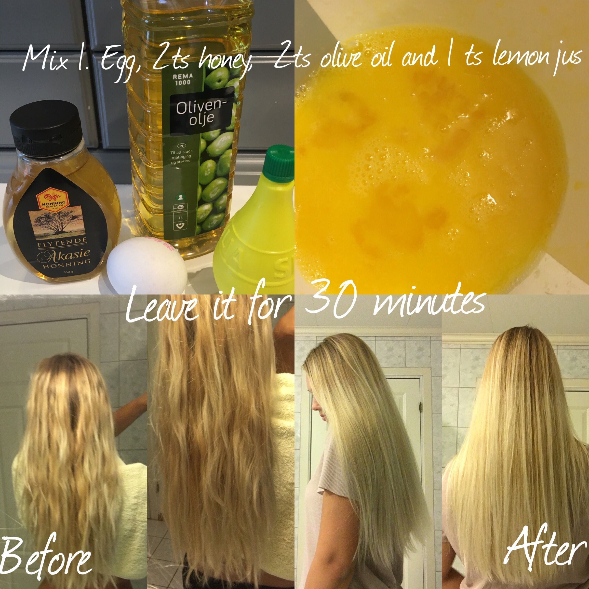Mix 1 Egg 2 Ts Honey 2 Ts Olive Oil And 1 Ts Off Lemon Jus Leave It For 30 Minutes And Then You Hair Nutrients Homemade Hair Products Hair Mask For Growth