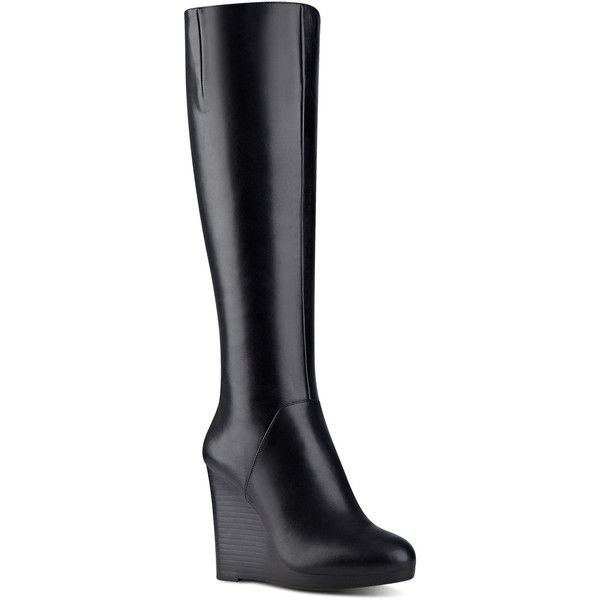 91ce270a020c Nine West Harvee Tall Wedge Boots ( 189) ❤ liked on Polyvore featuring  shoes