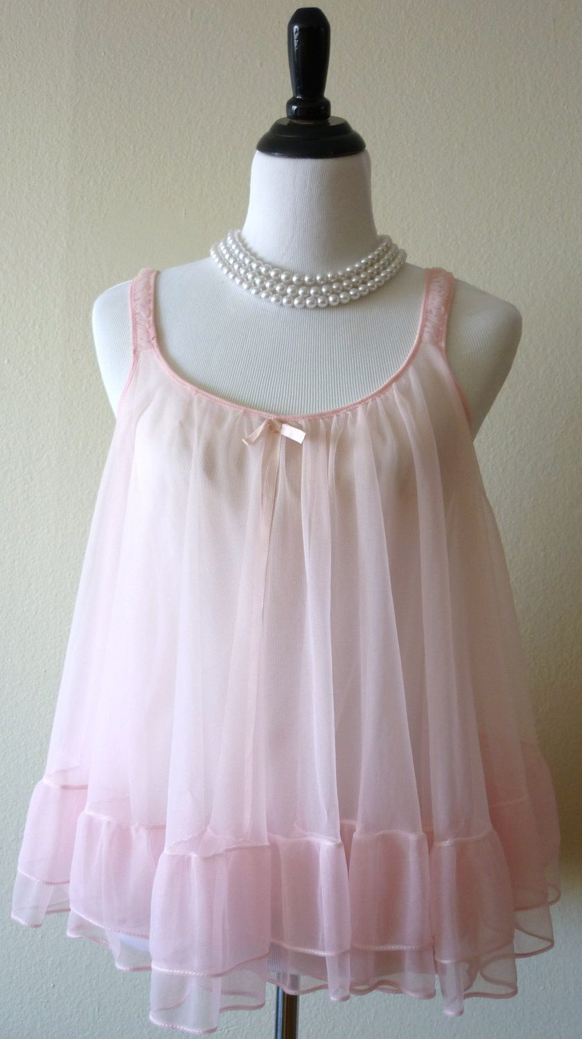 bc946001a60 1960's Baby Pink Baby Doll and Panty Set sz S/M | 1950-60s fashion ...