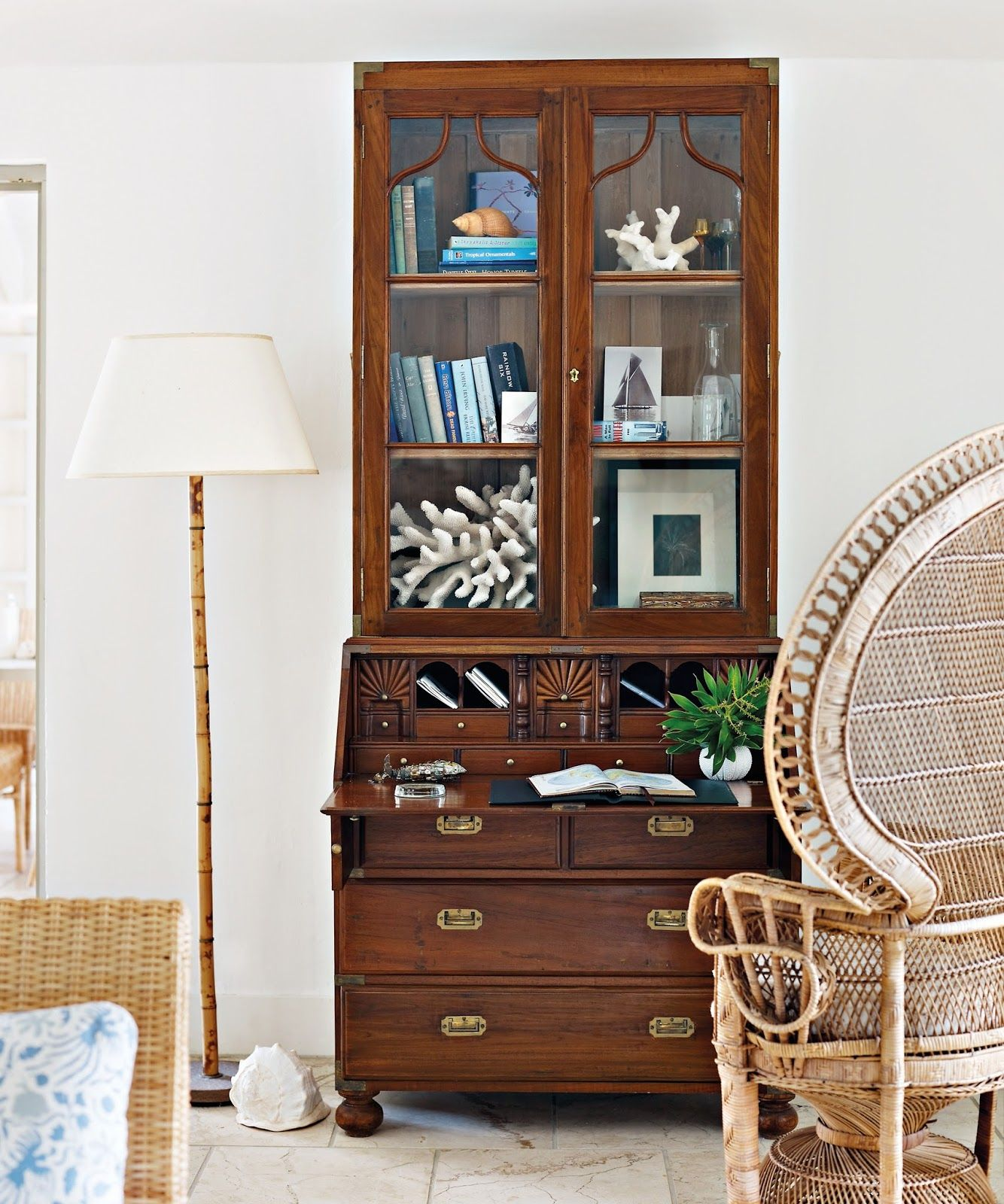 Secretary Desk With Wicker Peacock Chair