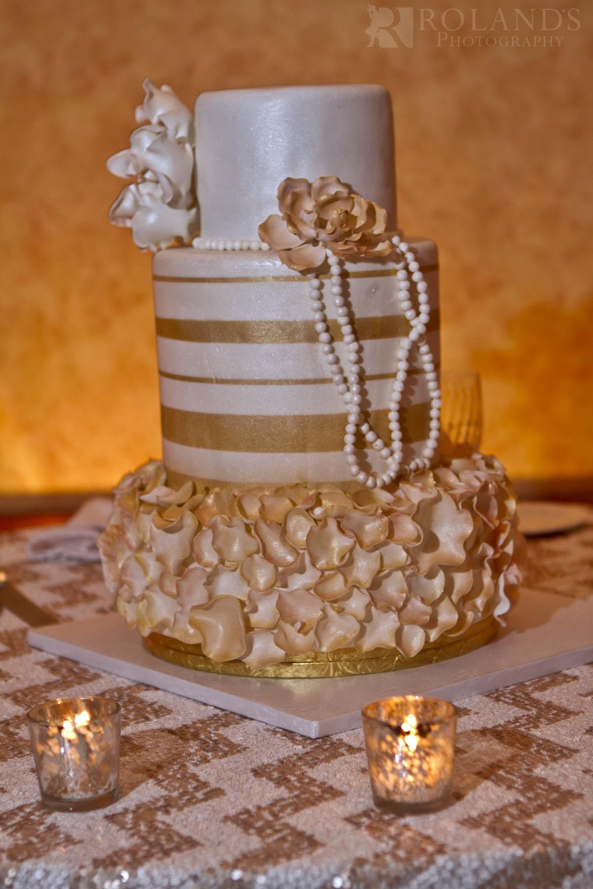 Edwards Epps Wedding Gold and white fondant cake with a