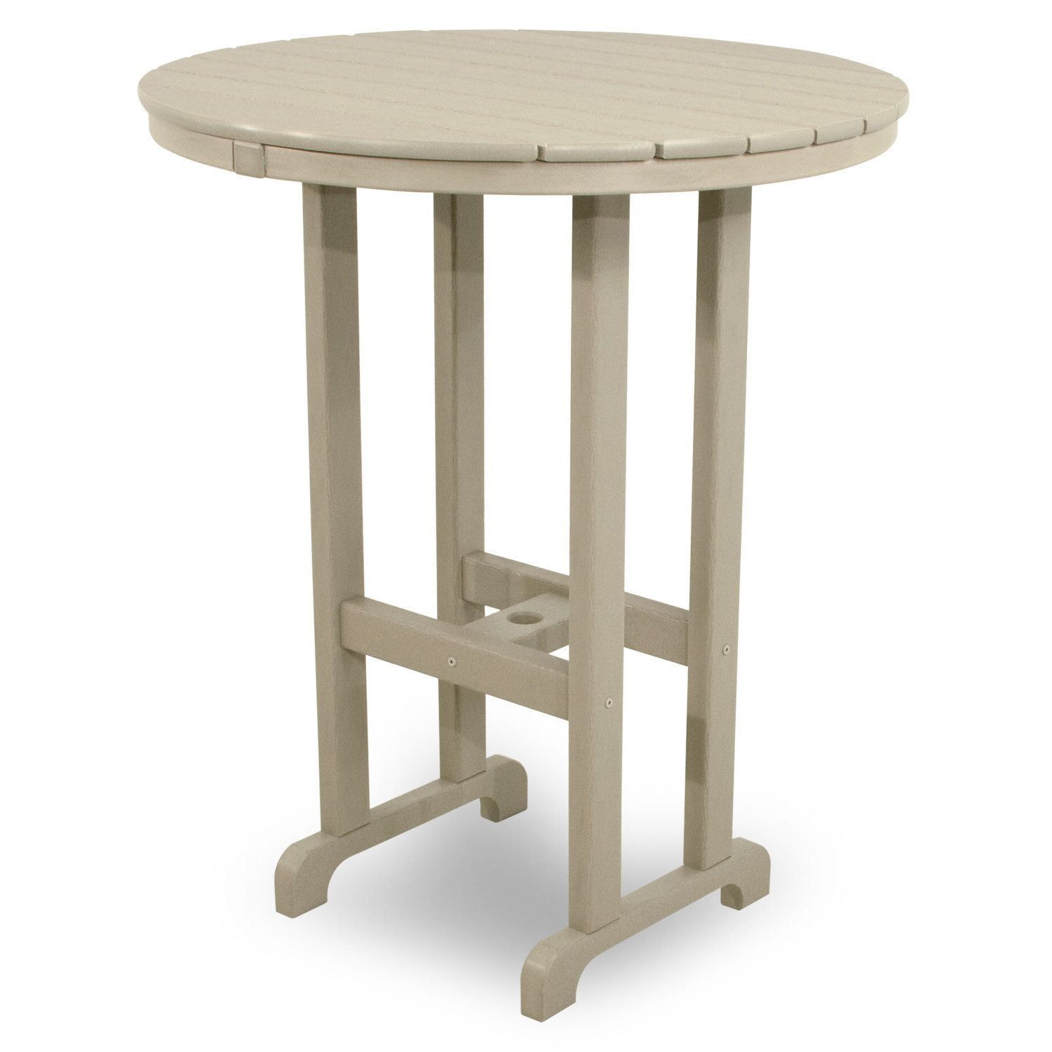 Ivy Terrace Classics Round 36 Inch Bar Table (White), Patio Furniture