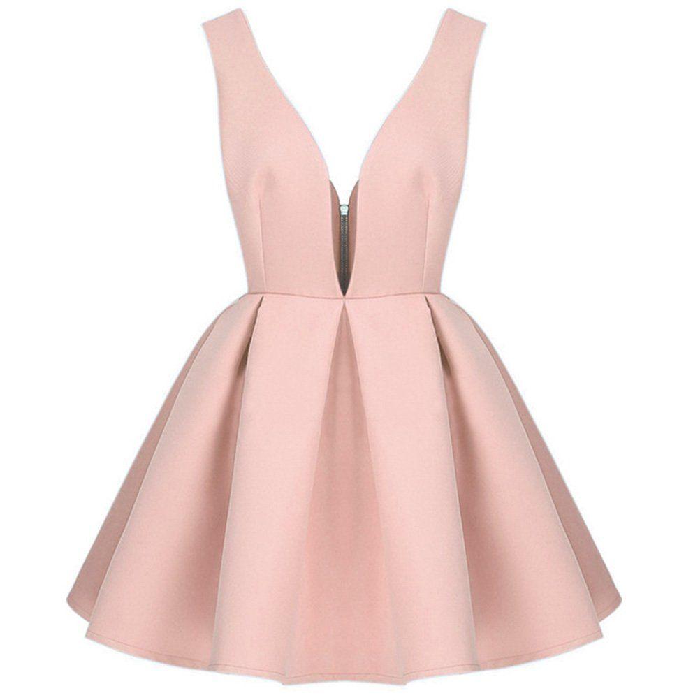 Tp Sky Women's Retro Backless Deep V-neck Cocktail Skater Dress Back Zipper (M, Pink)