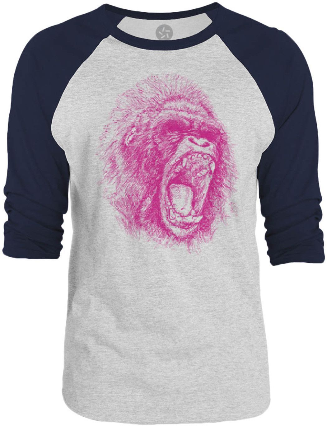 Big Texas Ape (Pink) 3/4-Sleeve Raglan Baseball T-Shirt
