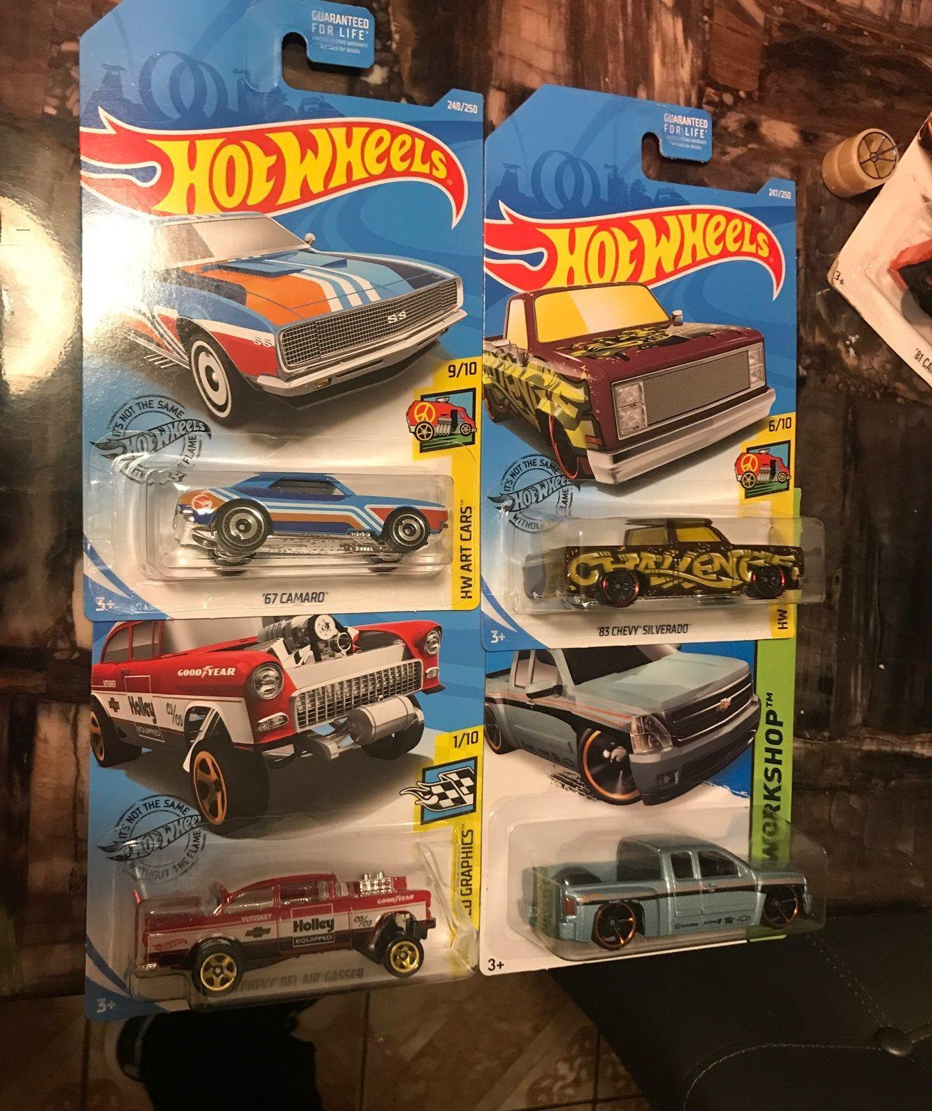Lot Of 4 Treasure Hunt 67 Camaro 83 Silverado 55 Chevy Bel Air