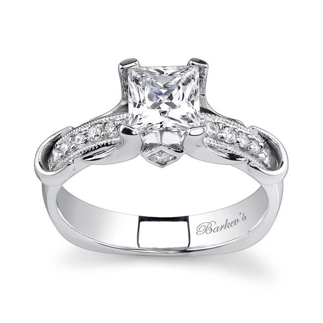 White Gold Engagement Ring 7321LW A unique straight line