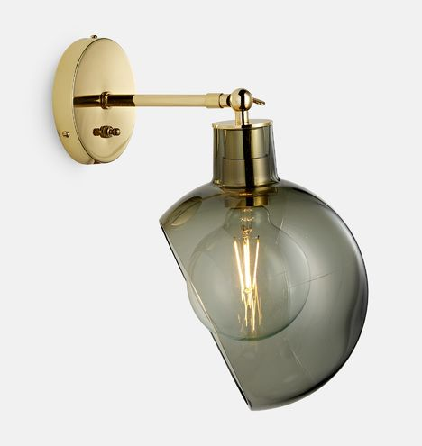 Edendale Angled Articulating Sconce Sconces Smoked Glass Sconces Bedroom