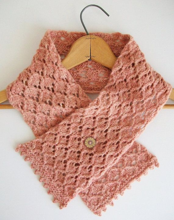 Pale Peach Gold Knitted Scarf Baby Alpaca by BlueStockinette, $45.00