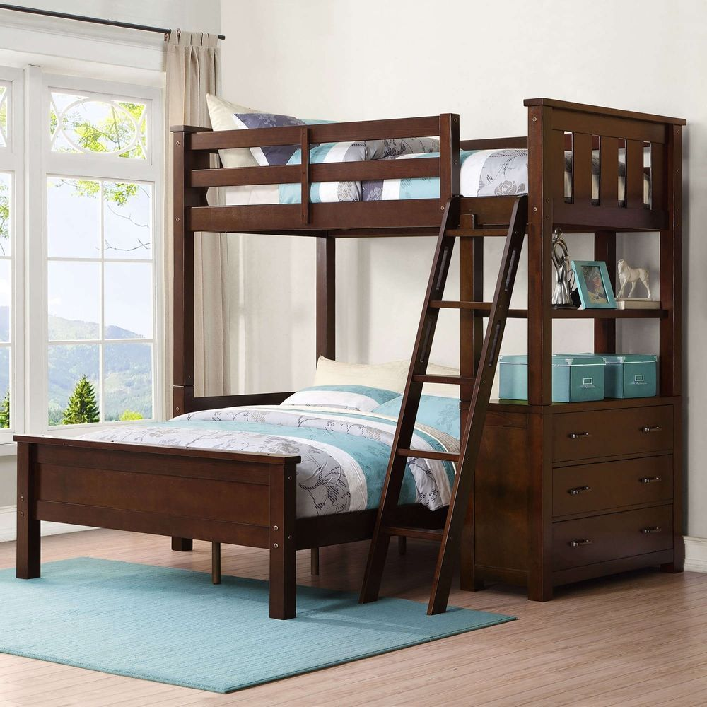 New Twin Over Full Wood Loft Bunk Bed Set with Storage