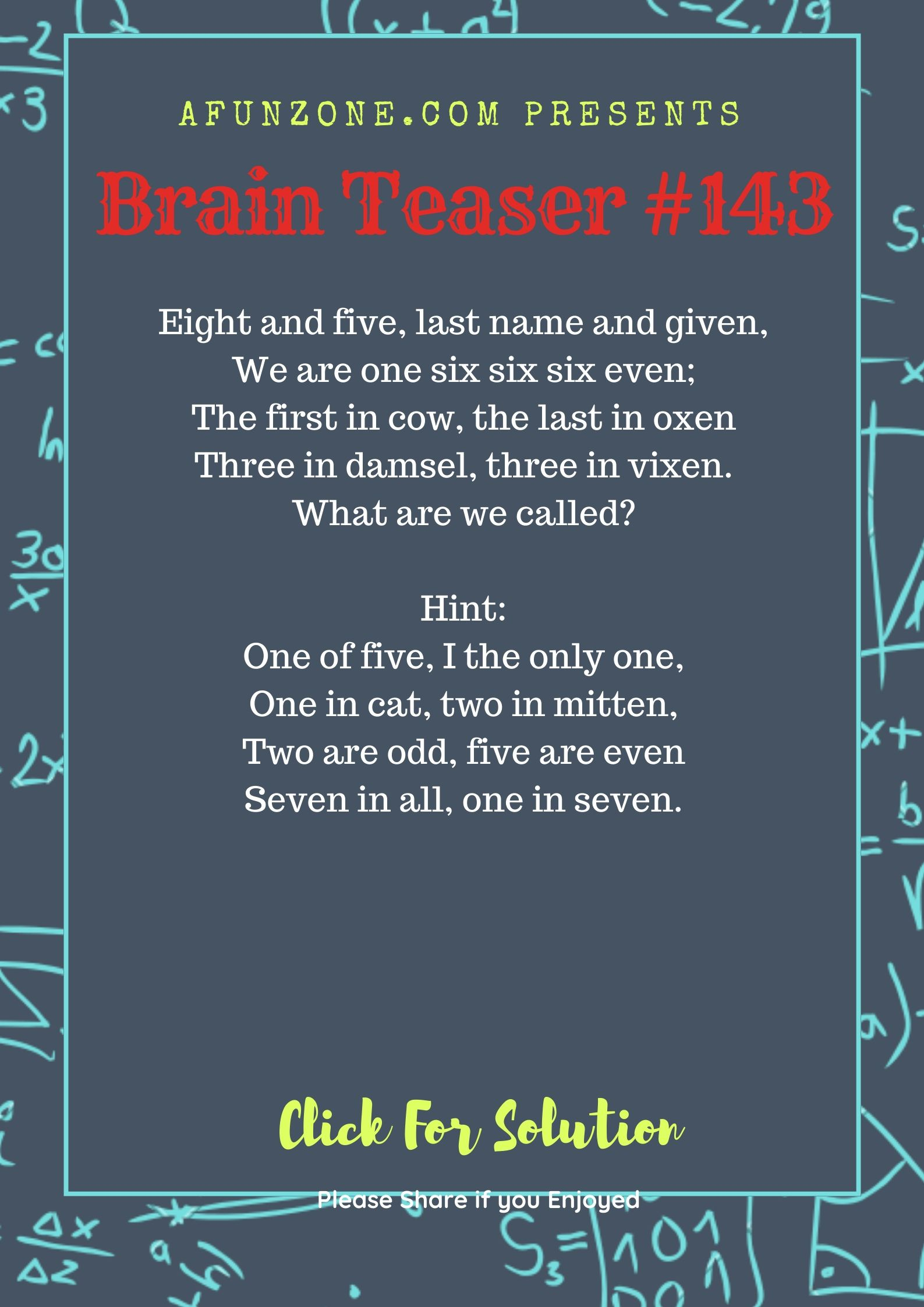 Today's Topic afunzone brainteaser Puzzle education