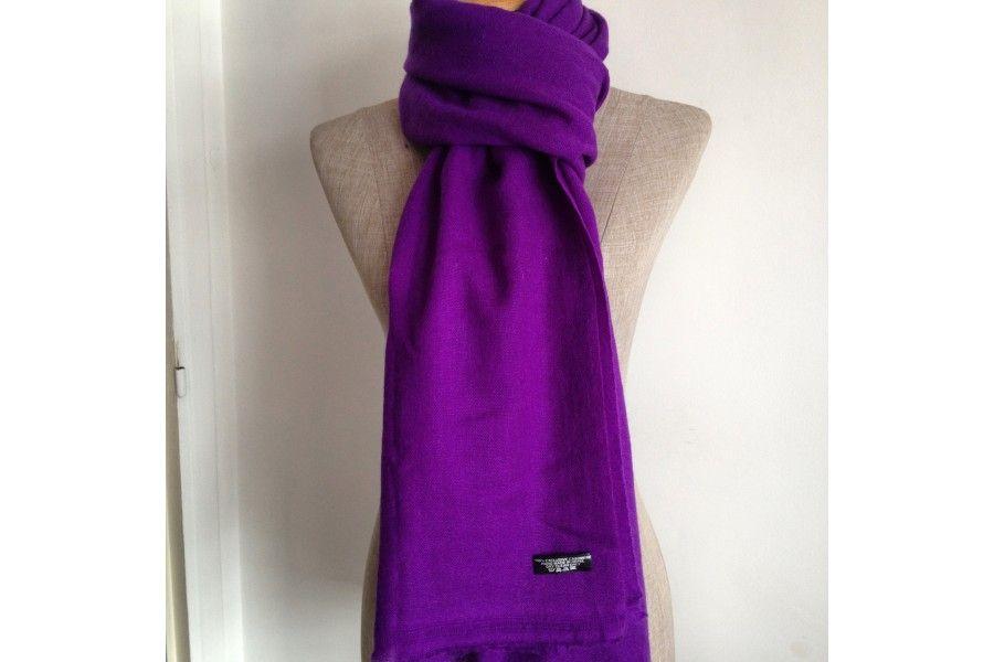 Echarpe 100 /% cachemire Véritable mauve violet NEUF !